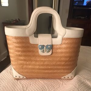 Lilly Pulitzer straw tote with butterfly detail